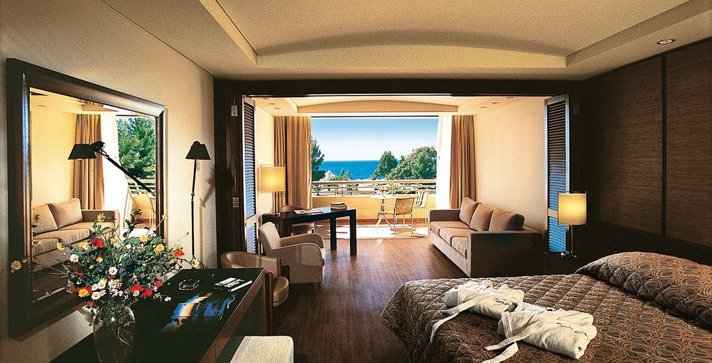 Oder ein Upgrade auf eine Junior Suite mit einem Yachthafen oder Meerblick