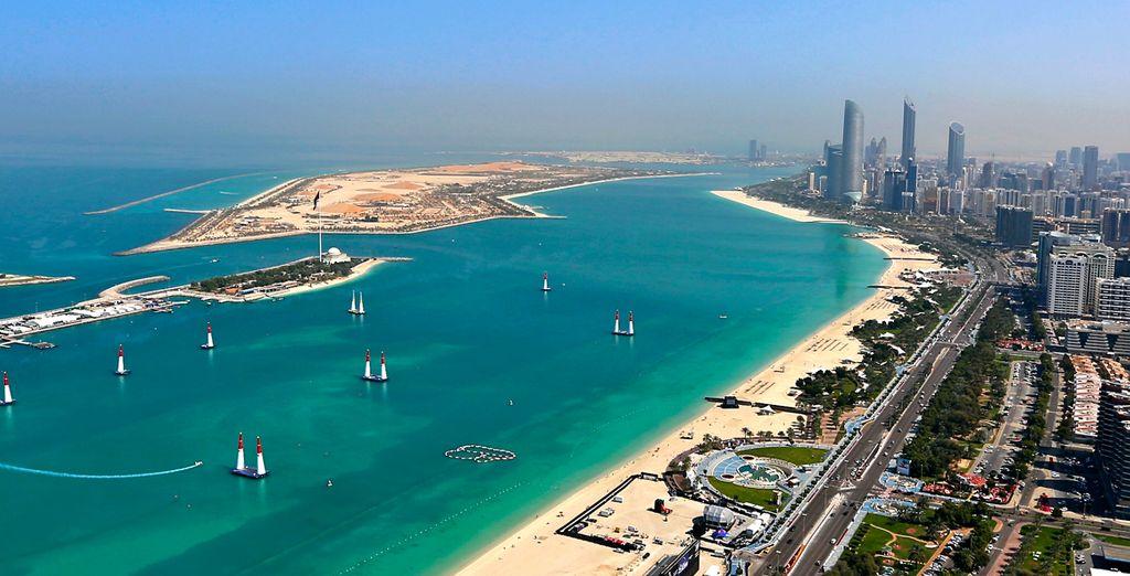 Sehen Sie die aufregende, moderne Stadt Abu Dhabi von oben!