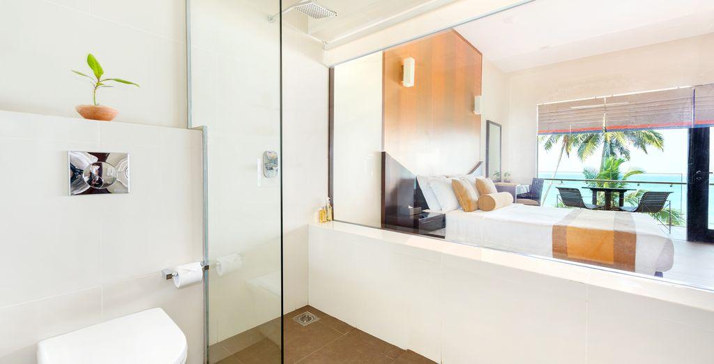 Diesen faszinierenden Ausblick haben Sie sowohl von Ihrem Bett, als auch vom Badezimmer Ihres Zimmer aus