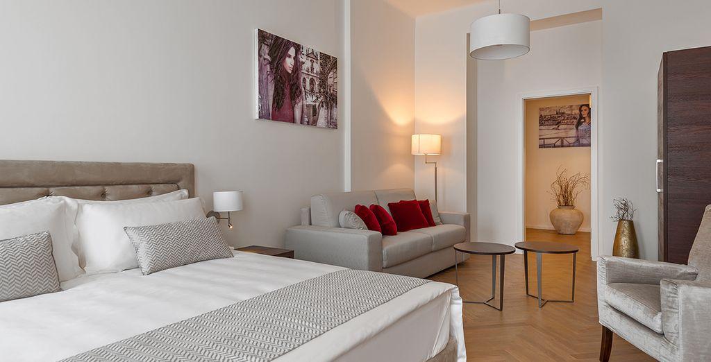 Die Junior Suite ist elegant und geräumig, perfekt für mehrere Personen