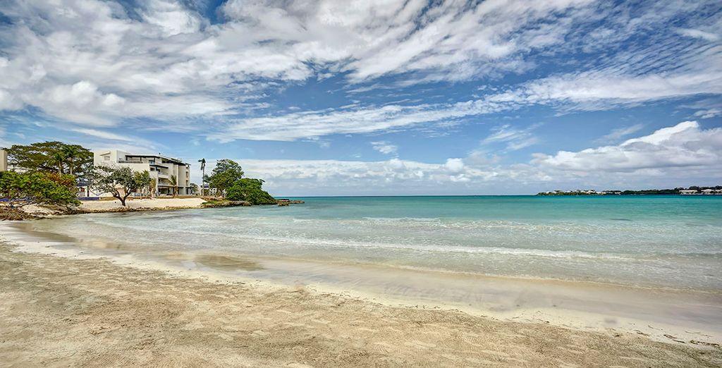 Entspannen Sie am Strand in der karibischen Sonne