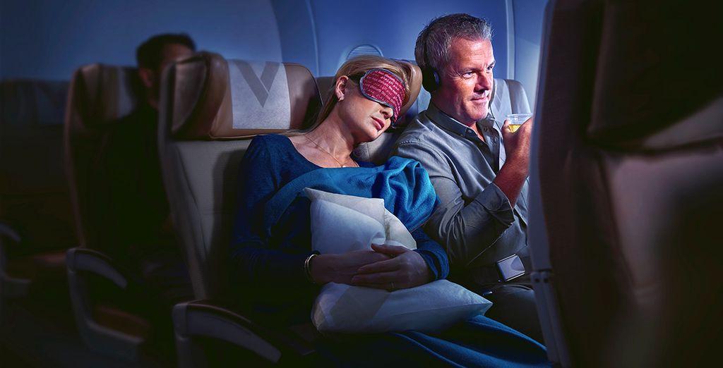 Durante el vuelo podrás gozar de mantas de lana de gran tamaño, almohadas exclusivas y la atmósfera perfecta