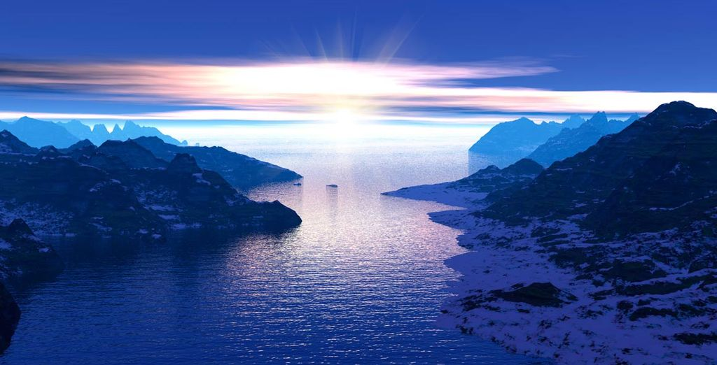 Disfrute del paisaje en el Fiordo de la luz