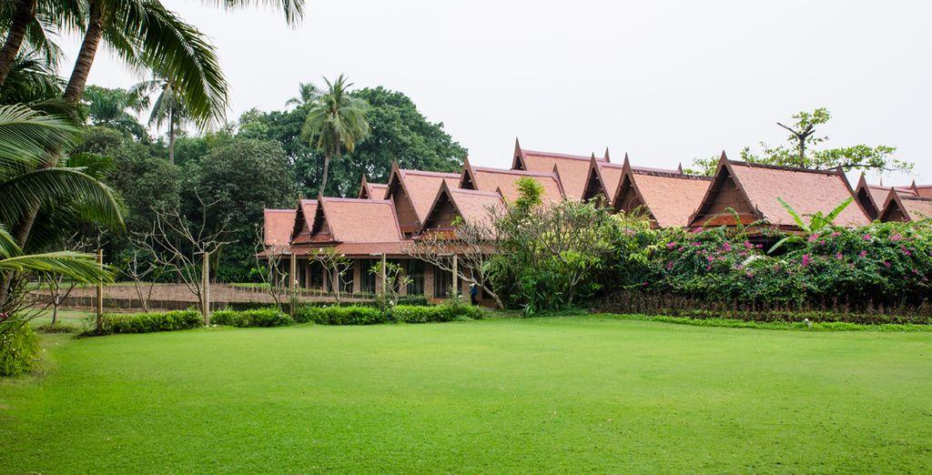 Casas tradicionales tailandesas en Sampran Riverside