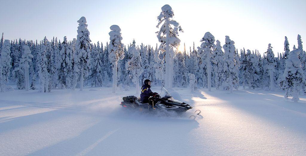 Conduce una moto de nieve recorriendo las granjas locales