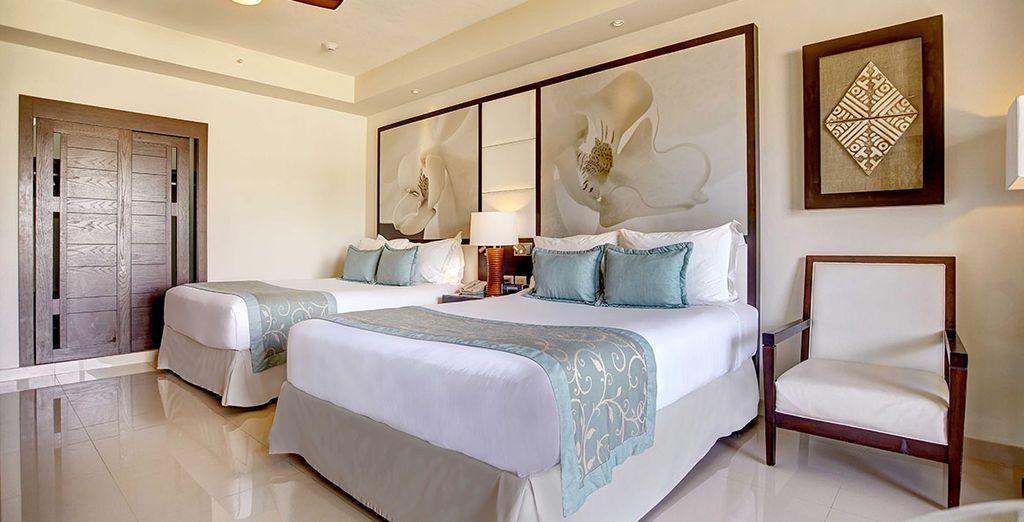 Puedes elegir alojarte en una habitación Luxury con acceso a Diamond Club