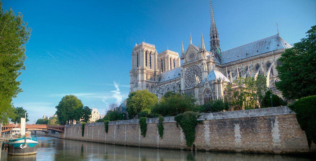 Pasea a orillas del río Sena hasta llegar a Notre Dame