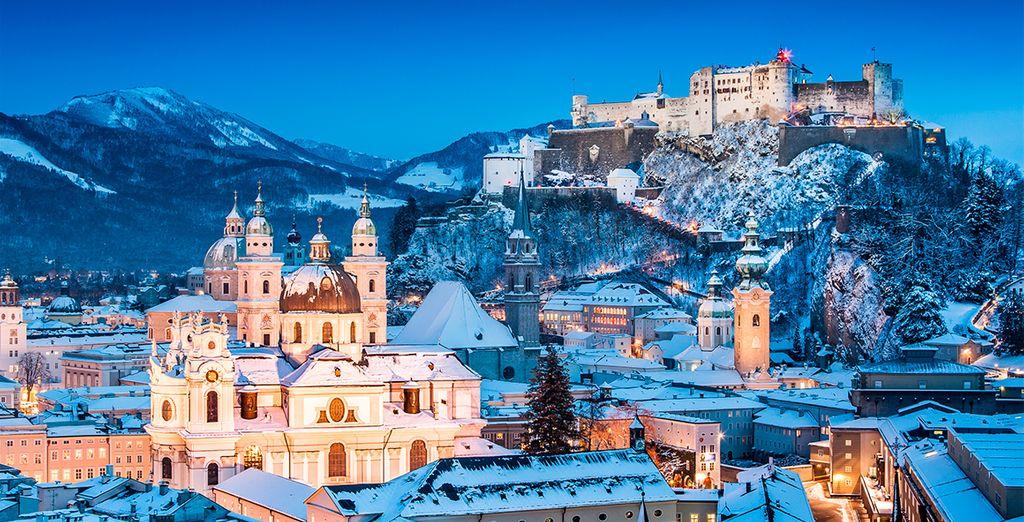 Hermosa vista de la histórica ciudad de Salzburgo