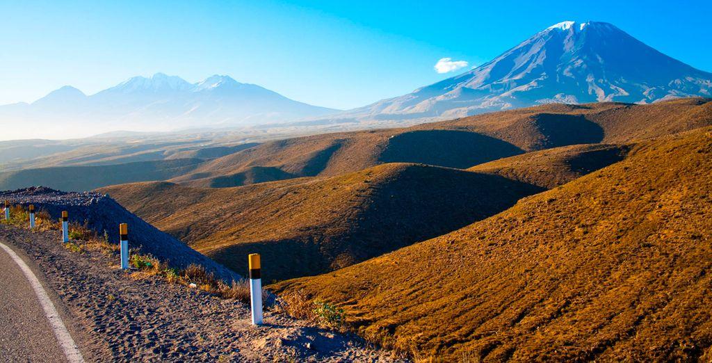 Admira la hermosa vista al Volcán Misti