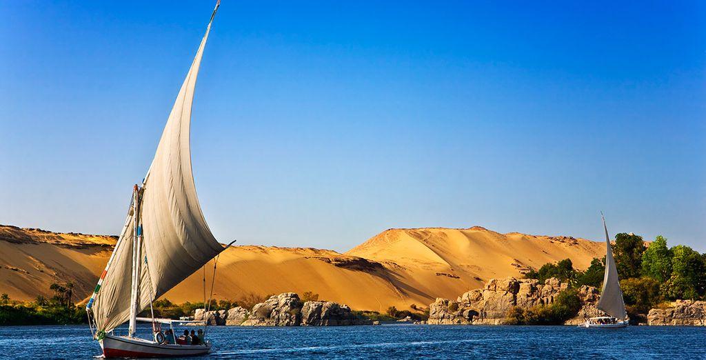 Observa los maravillosos paisajes de la ribera del Nilo