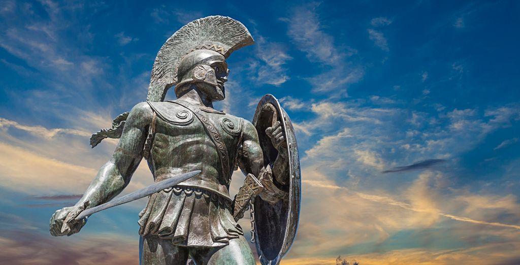 Estatua de Leónidas por su hazaña en la batalla de las Termópilas