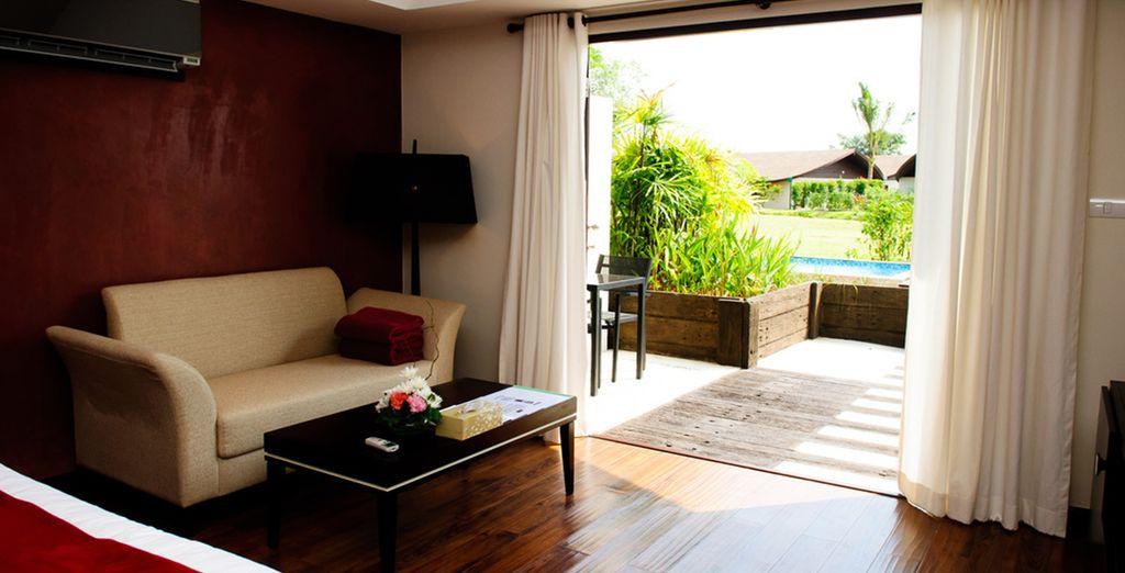 La mayoría de las suites disponen de un jardín privado