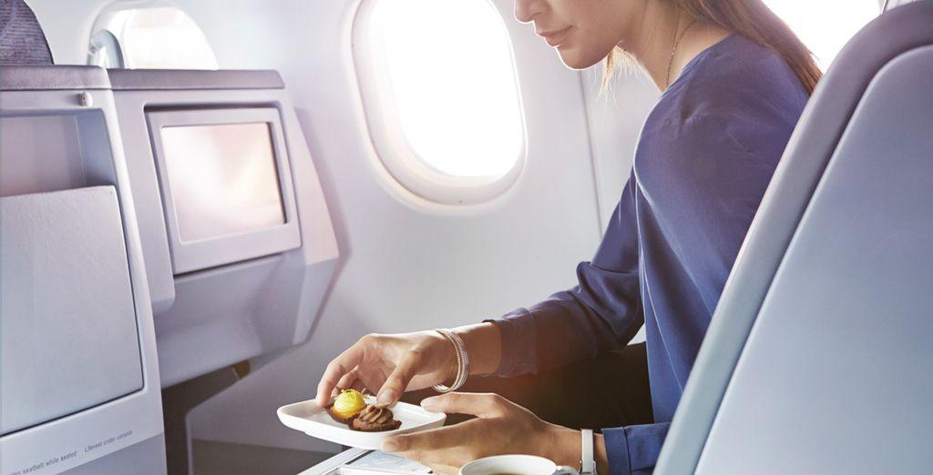 La alta cocina también es un valor añadido en la clase Business de Finnair. Podrás elegir (incluso, antes del vuelo) tus platos