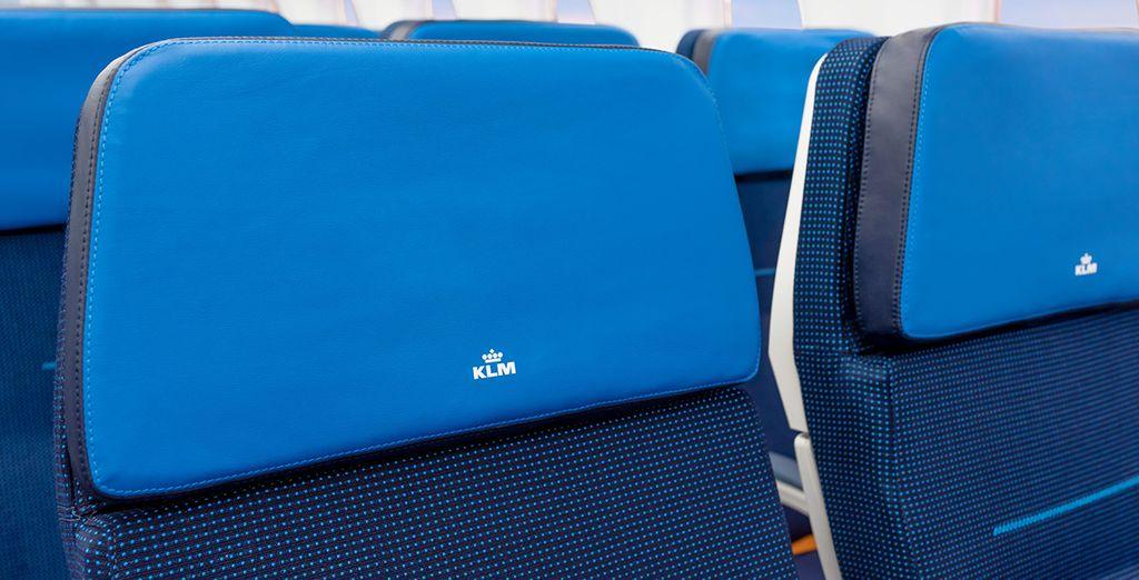 KLM ofrece un asiento diseñado ergonómicamente