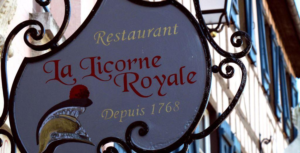 Puis rejoignez la table étoilée de votre hôtel : la Licorne Royale