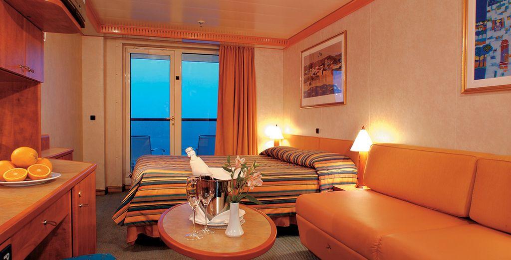 ...ou en cabine extérieure Premium avec balcon...