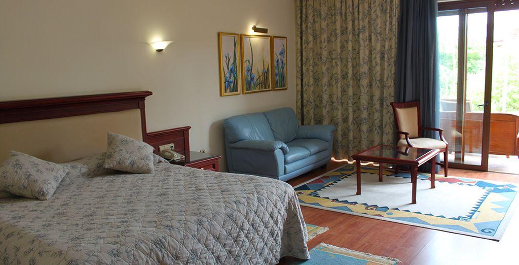 Confortablement installé en chambre vue mer latérale ou frontale !