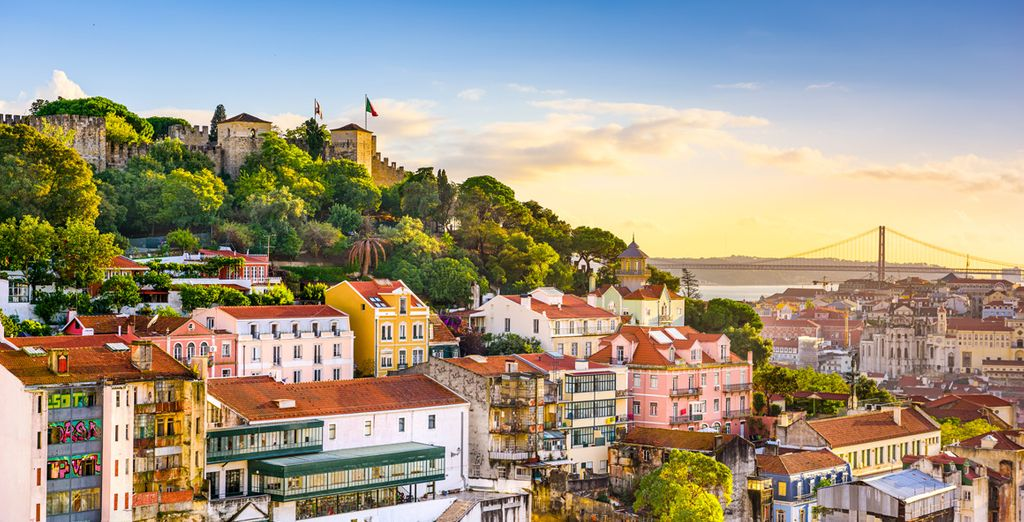 Paysage de la ville colorée de Lisbonne