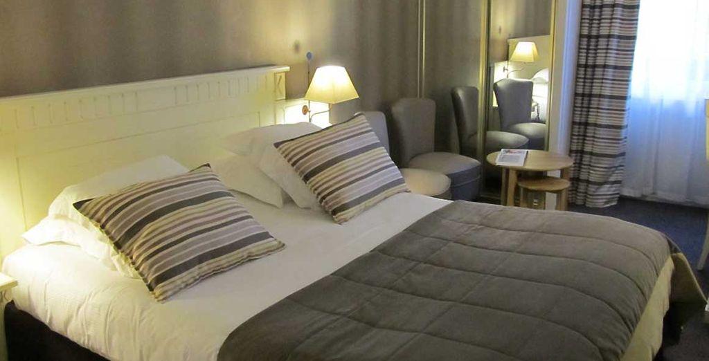 Vous séjournerez dans une chambre Confort, cosy et chaleureuse