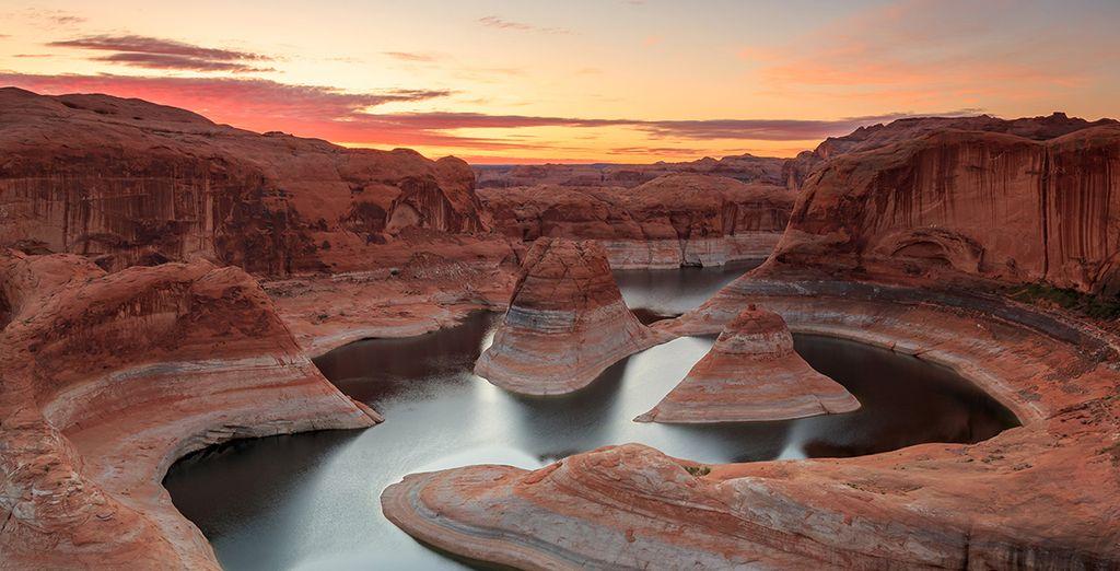 Photographie des Etats-Unis et du Grand Canyon face au couché du soleil