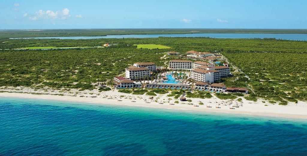 Sur une plage de sable blanc près de Cancun
