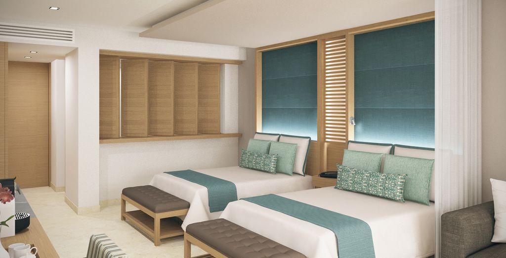Une chambre spacieuse et agréable...