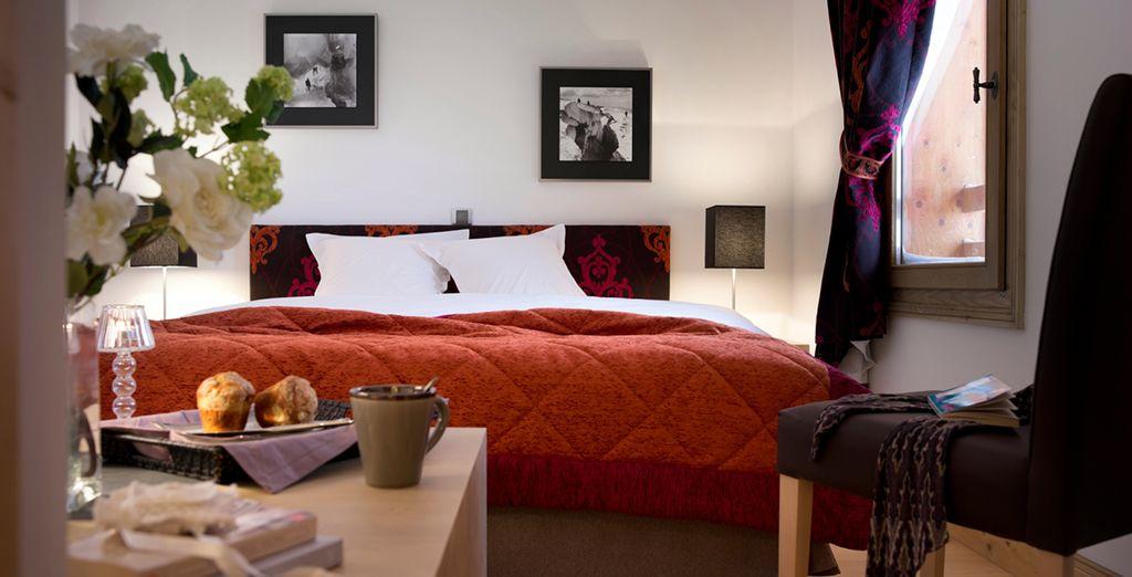 ... & de belles chambres, dans une charmante décoration montagnarde