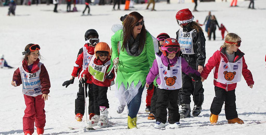 ou accompagnés aux cours de ski ...