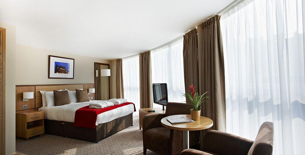 Chambre haut de gamme tout confort au centre ville de Londres, lit double et vue panoramique sur la ville