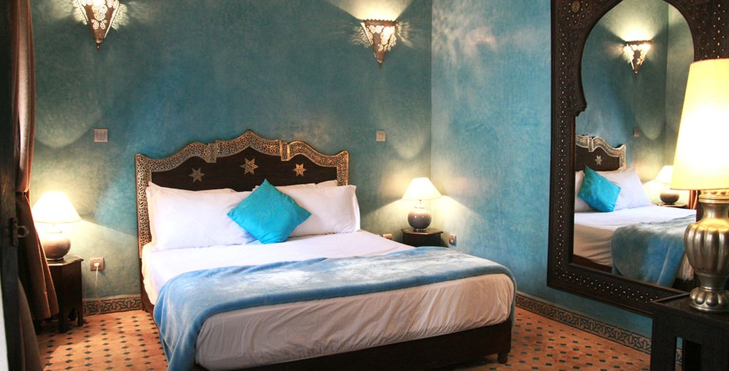 Découvrez votre chambre. Turquoise, cannelle ou berbère, vos nuits seront douces !