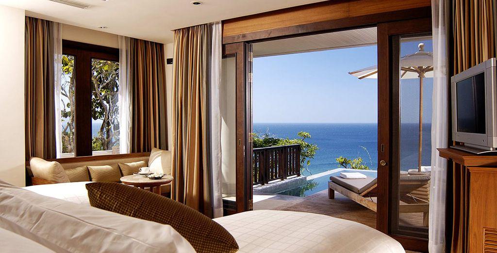 découvrez votre chambre, ouverte sur la mer d'Andaman