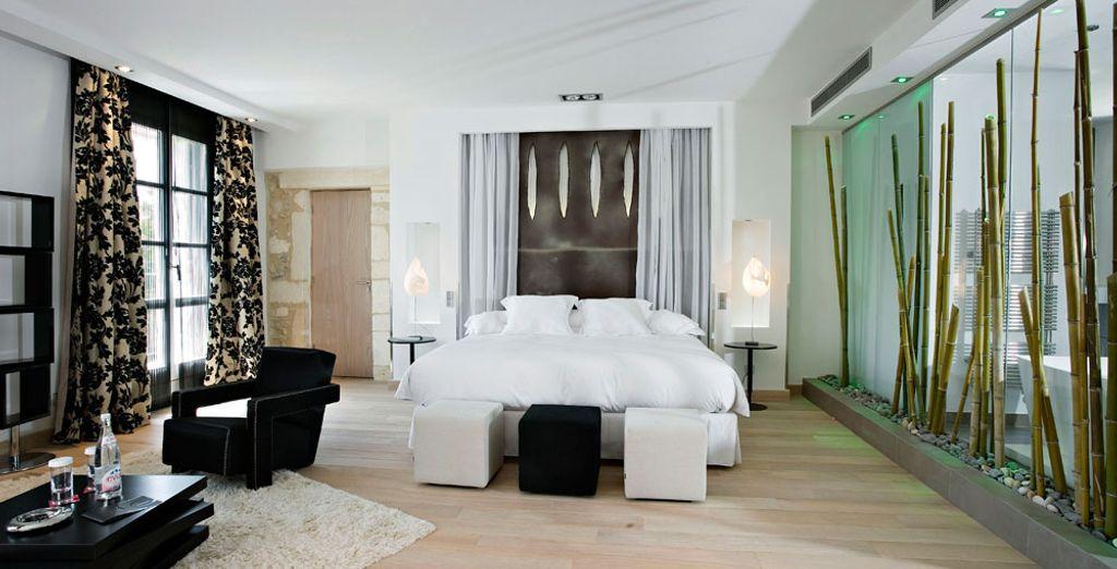 Hôtel de charme avec chambre spacieuse tout confort et lit double à proximité de Montpellier et de toutes activités