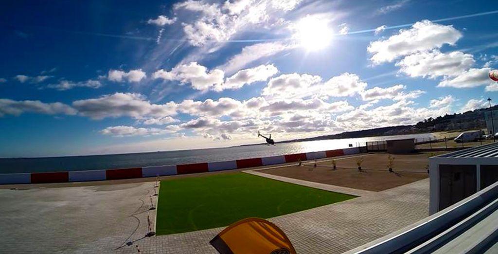 au départ de l'heliport de Lisbonne