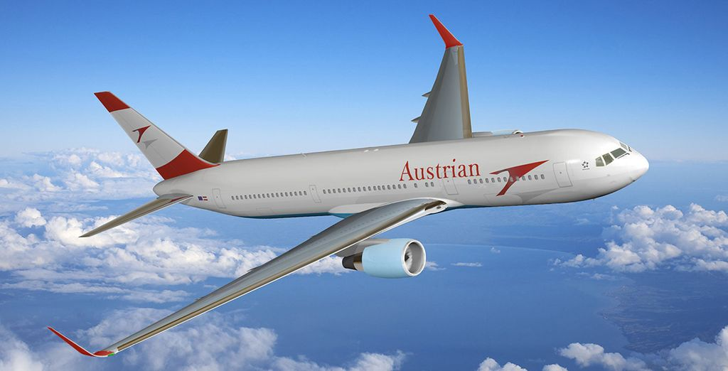 En option avec supplément, choisissez de vous envoler avec la compagnie Austrian Airlines