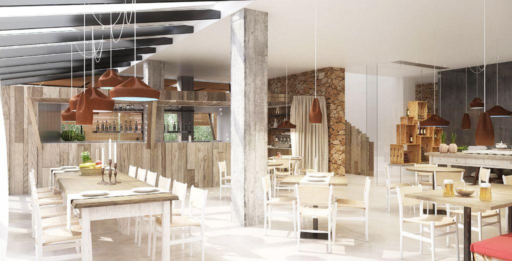 ... Au bar-restaurant, design et épuré