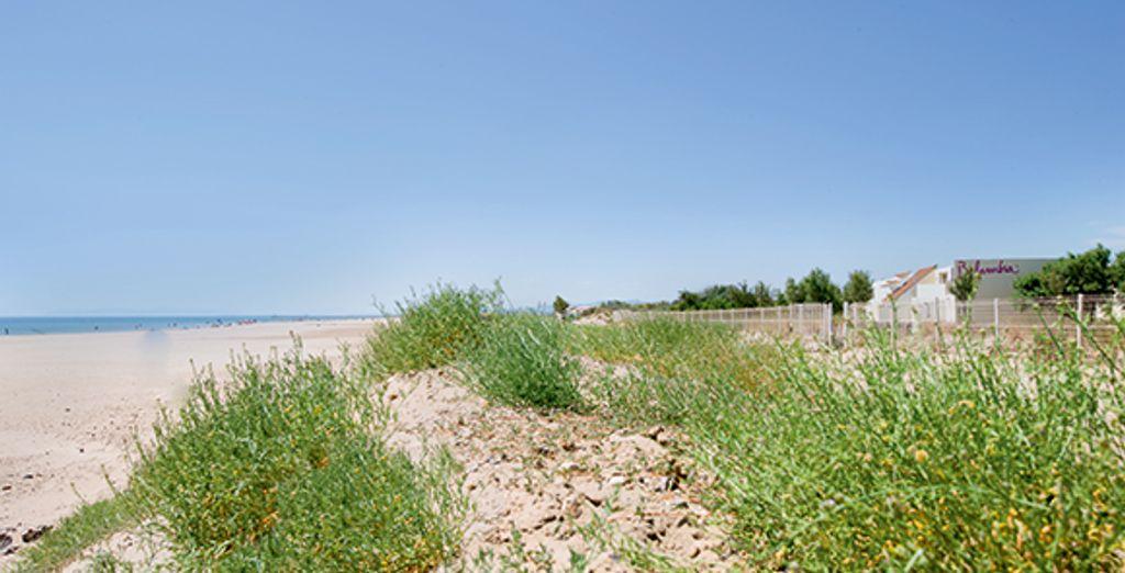 Au bord d'une longue plage de sable...