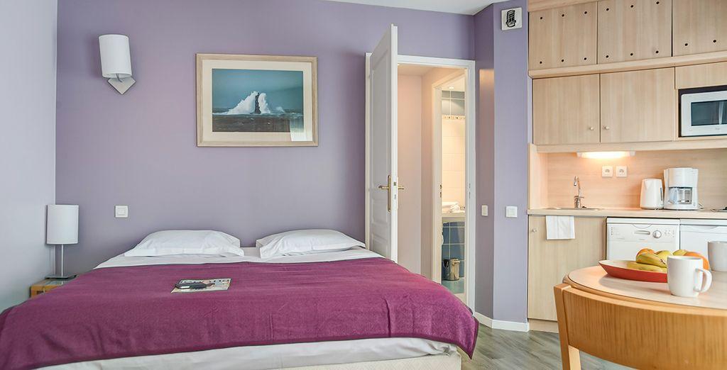 Appartement de vacances tout équipé avec cuisine privative et salle de bain