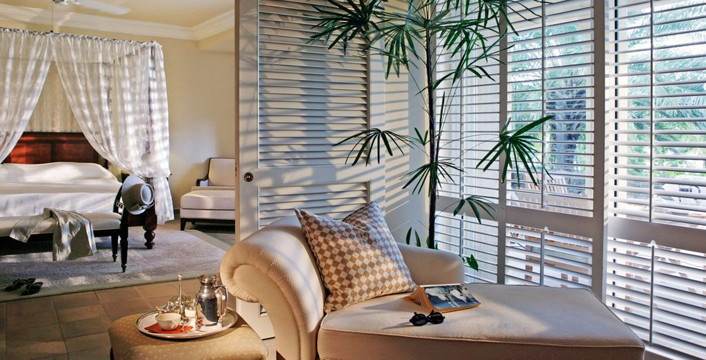 Hôtel haut de gamme avec chambre tout confort et vue sur de belles plages de sable fin et leurs eaux turquoise, Île Maurice