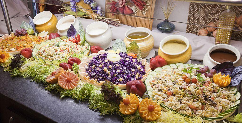 avec buffet ou plats préparés devant vous