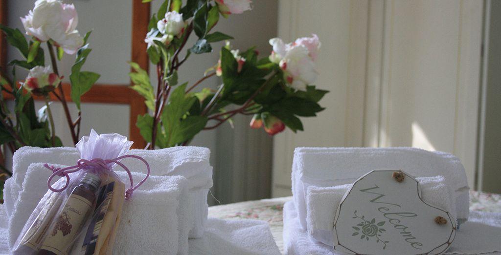 Et un kit d'accueil de produits de beauté rien que pour vous !