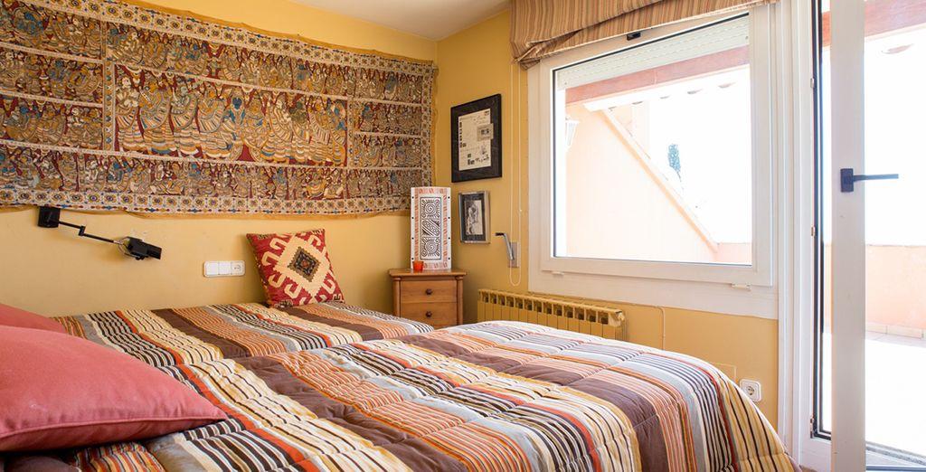 Chambre lumineuse avec 2 lits simples