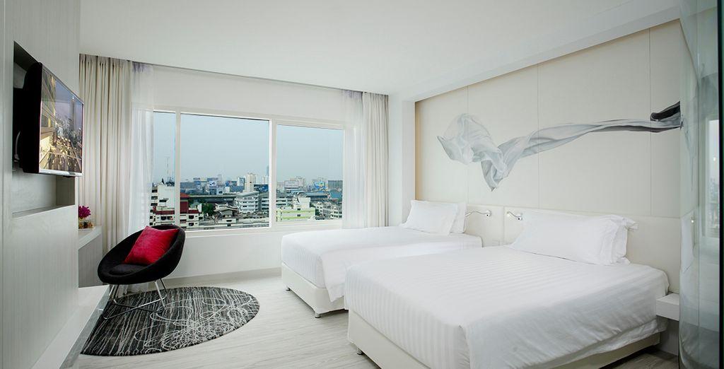 Vous y séjournerez en Chambre Deluxe, confortable, moderne et lumineuse.
