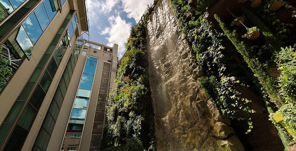 Prenez ensuite la direction des jardins suspendus de 1000 m², et sa cascade spectaculaire