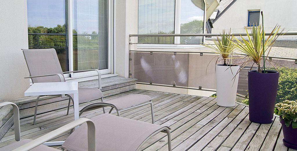 La deuxième terrasse à l'étage, idéal pour un bain de soleil