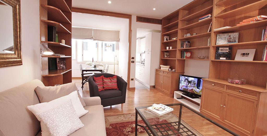 Avec des couleurs qui réchauffent la pièce - Appartement 1 chambre jusqu'à 4 personnes Rome