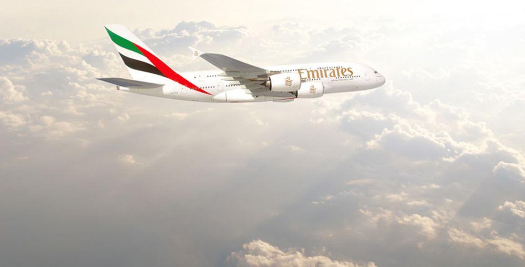 Sur certaines de nos offres, offrez-vous en option de vous envoler en classe affaires Emirates...