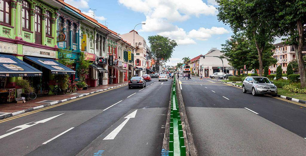 Quartiere e vicoli nel cuore della città di Singapore