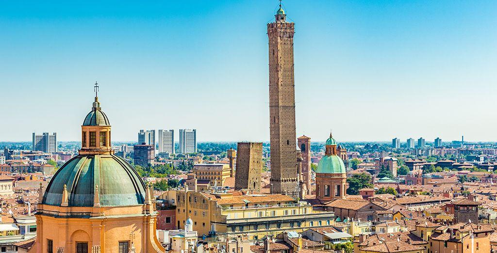 Città di Bologna vista dall'alto e tetto del Palazzo dei Banchi