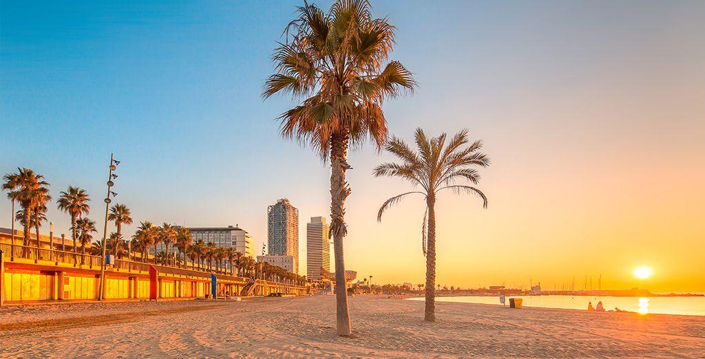 Spiaggia della Barceloneta e tramonto a Barcellona