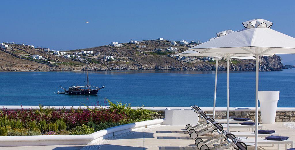 questo hotel è pensato per godersi il meraviglioso sole di Mykonos
